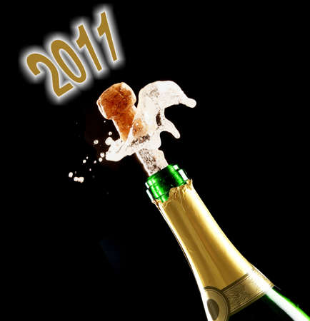 Popping champaigne cork for the 2011 year photo