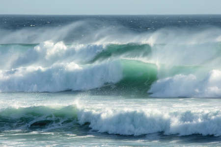 rough sea: Rough windswept waves off the South African shore