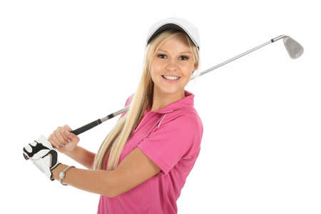 Beautiful young blonde golfer lady in pink shirt and white cap Reklamní fotografie