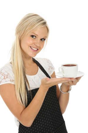 jasschort: Lovely blond waitress serving up a cup of tea or hot chocolate