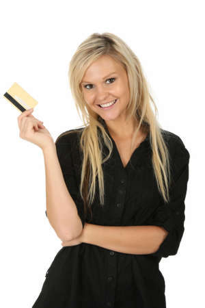 Lovely blond lady holding a gold credit card and smiling photo