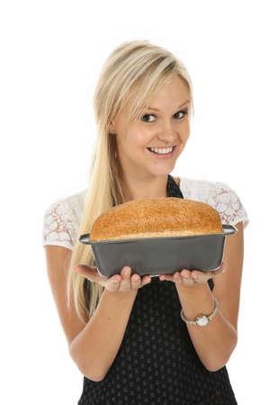 panadero: Hermosa mujer rubia con casa pan horneado
