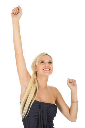 Lovely cheering blond woman with arms up