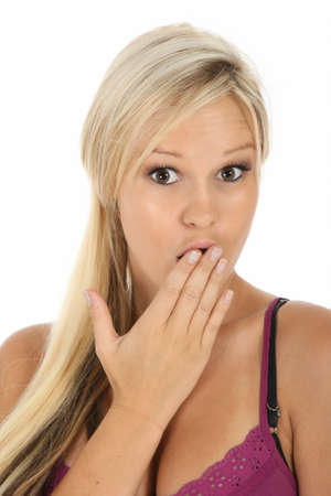 suprise: Beautiful young blonde woman with a suprised expression Stock Photo