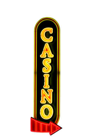 Casino sign with a red arrow in neon lights isolated on white Reklamní fotografie