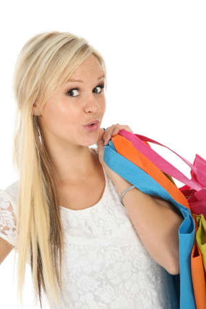 Gorgeous blonde woman with colorful shopping bags photo