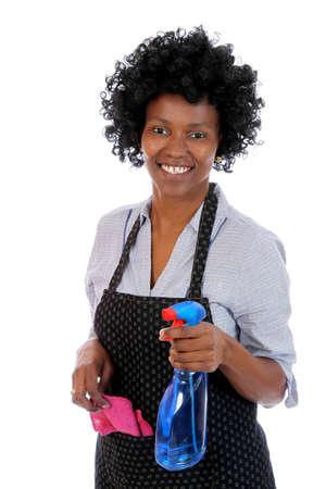 huis opruimen: Mooie lachende Afrikaanse dame met het schoonmaken van spray en doek Stockfoto