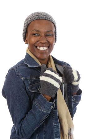 Lovely smiling African lady in woolen winter wear photo