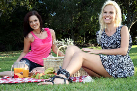 Two beautiful young lady friends enjoying a picnic together on a green lawn Stock Photo - 12705068