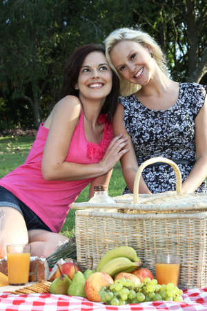 Gorgeous Smiling Women  Friends at Picnic photo