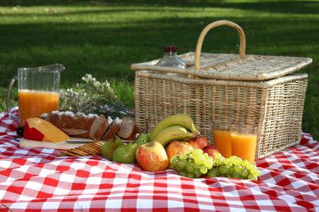 canastas con frutas: Suntuosa comida campestre se extienden sobre una tela roja y blanca marcada con el cesto de mimbre