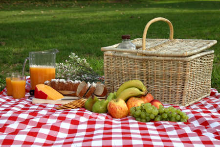 Sumptuous picnic spread out on a red and white checked cloth with wicker basket