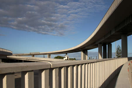 overpass: Modern concrete elevated road way or overpass system on columns Stock Photo