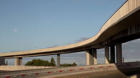 expressway: Modern concrete elevated road way or overpass system on columns Stock Photo