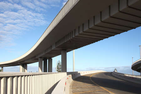 colum: Modern concrete elevated road way or overpass system on columns Stock Photo