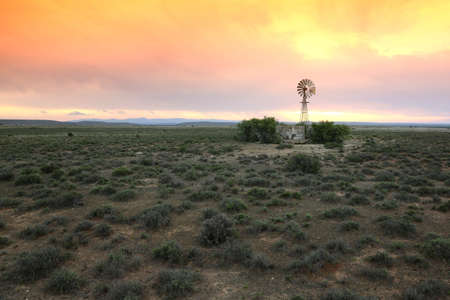 Wide open farm land with a water windmill pump at sunset in the Karoo in South Africa Reklamní fotografie