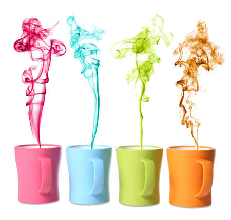 Coffee or beverage cups of different colors with matching color steam photo