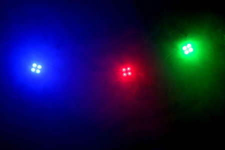 modules: Red blue and green LEDs shing through smoke