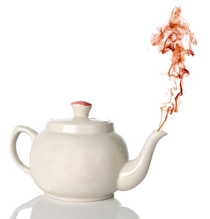 spout: White ceramic tea-pot with color steam coming out of the spout