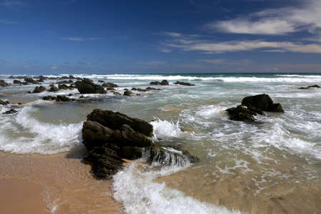 Beautiful pristine beach and sea at the coast in South Africa photo