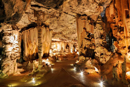 Beautiful limestone formations in an underground cavern in Oudtshoorn South Africa