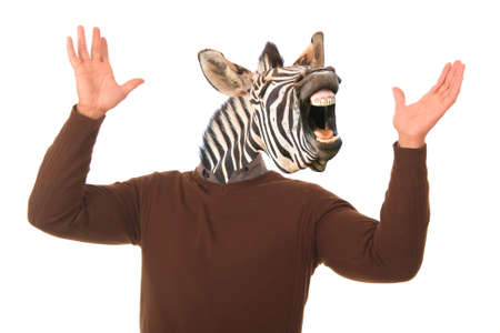 Laughing zebra face on a mans body with hands outstretched photo
