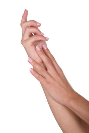 manicured hands: Young womans beautiful manicured hands Stock Photo