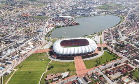 and south: Aerial view of the soccer stadium and lake in Port Elizabeth, South Africa