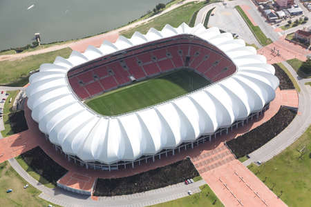 stadium: Aerial view of the soccer stadium and lake in Port Elizabeth South Africa Editorial