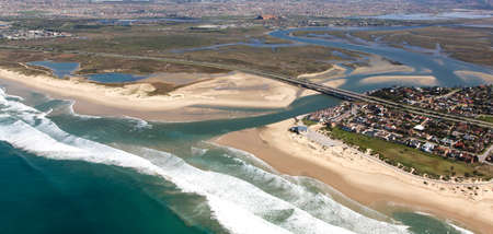 river view: Aerial view of Swartkops River mouth and estuary in South Africa Stock Photo