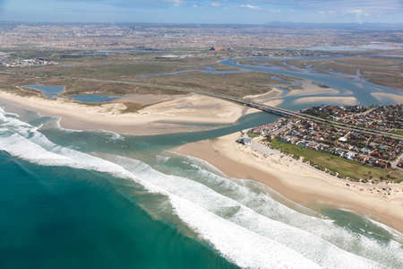 Aerial view Swartkops River Mouth and Estuary in Port Elizabeth, South Africa