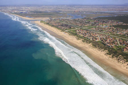 estuary: Aerial view of Swartkops River mouth and estuary in South Africa Stock Photo