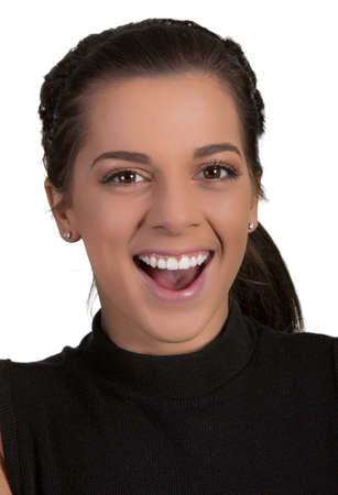 young lady: Pretty young lady with happy smiling expression Stock Photo