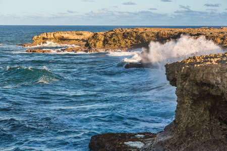Sea waves crashing against the rocks on the north coast of Barbados
