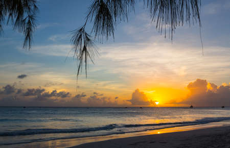 Beautiful Sunset at a Tropical Beach in Barbados in the Caribbean
