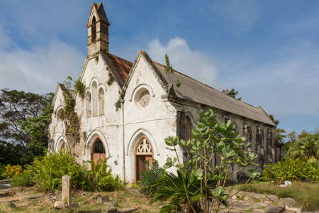 An ancient ruined church building in Barbados