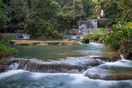 Lovely cascading waterfalls in the tropical island of Jamaica Reklamní fotografie