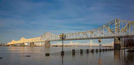 Bridges over the Ohio River in Cleveland Kentucky USA