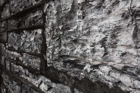 Close up details of an ancient stone wall