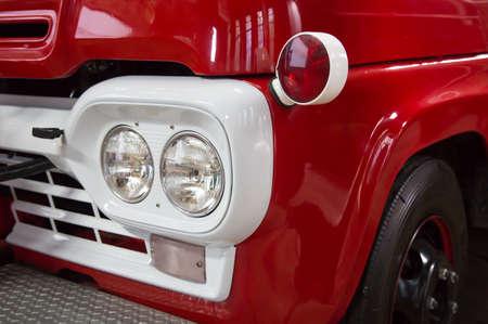 Detail of an old red vintage fire truck Reklamní fotografie