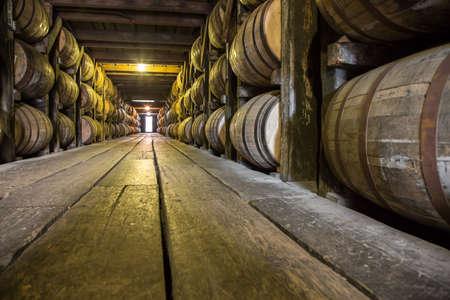 Barrels of Bourbon Whiskey in an aging cellar Reklamní fotografie