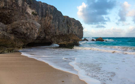 Rugged and wild coast on east side of Barbados in Caribbean