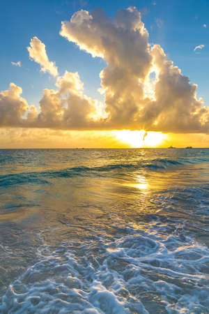 Sunset at the coast of tropical Barbados in the Caribbean