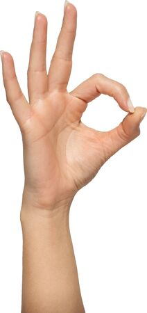 all right: Human hand gesture is all right everything is OK Isolated Stock Photo