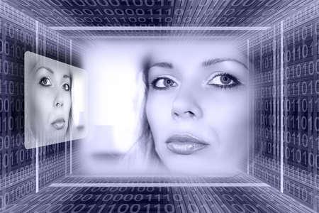 figurative: Digital technologies concept: a luminous girl in the binary cone tunnel