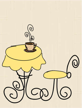 colombian food: Vector stylized table, chair and a cup of coffee or tea