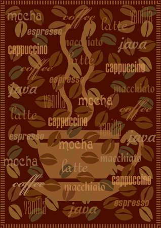 comida colombiana: Vector de fondo caf� con diferentes tipos y nombres de caf�