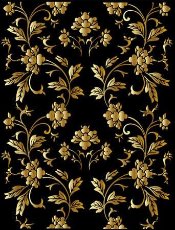 floristic: Seamless vector golden floral pattern Illustration