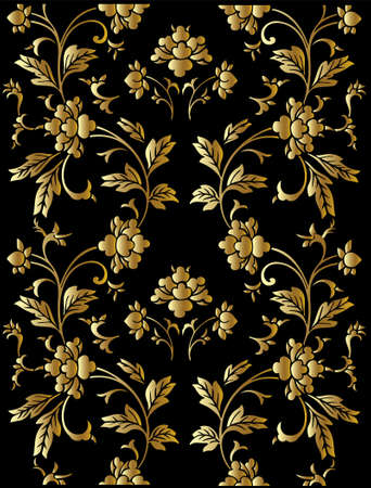 ornamentations: Seamless vettore d'oro pattern floreale Vettoriali