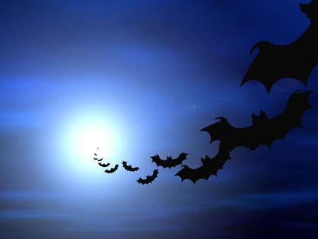 Halloween background, flying bats Stok Fotoğraf